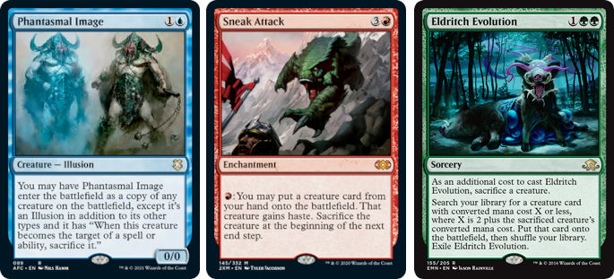 MTG cards Phantasmal Image, Sneak Attack and Eldritch Evolution. Image: Wizards of the Coast.