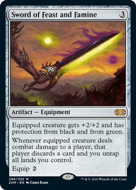 MTG card Sword of Feast and Famine. Image: Wizards of the Coast.