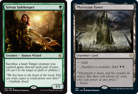 MTG cards Sylvan Safekeeper and Phyrexian Tower. Image: Wizards of the Coast.