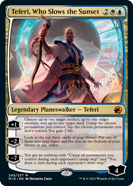 MTG card Teferi, Who Slows the Sunset. Image: Wizards of the Coast.