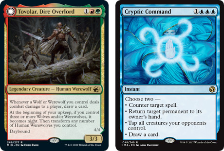 MTG cards Tovolar, Dire Overlord and Cryptic Command. Image: Wizards of the Coast.