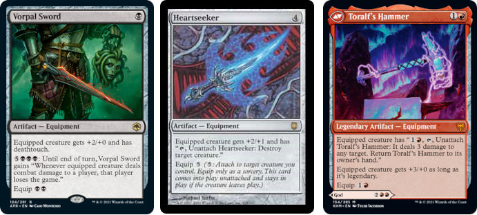 MTG cards Vorpal Sword, Heartseeker and Toralf's Hammer. Image: Wizards of the Coast.