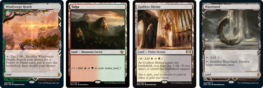 MTG cards Windswept Heath, Taiga, Godless Shrine and Wasteland. Image: Wizards of the Coast.