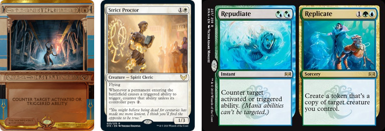 MTG cards Stifle, Strict Proctor, Repudiate. Image: Wizards of the Coast.