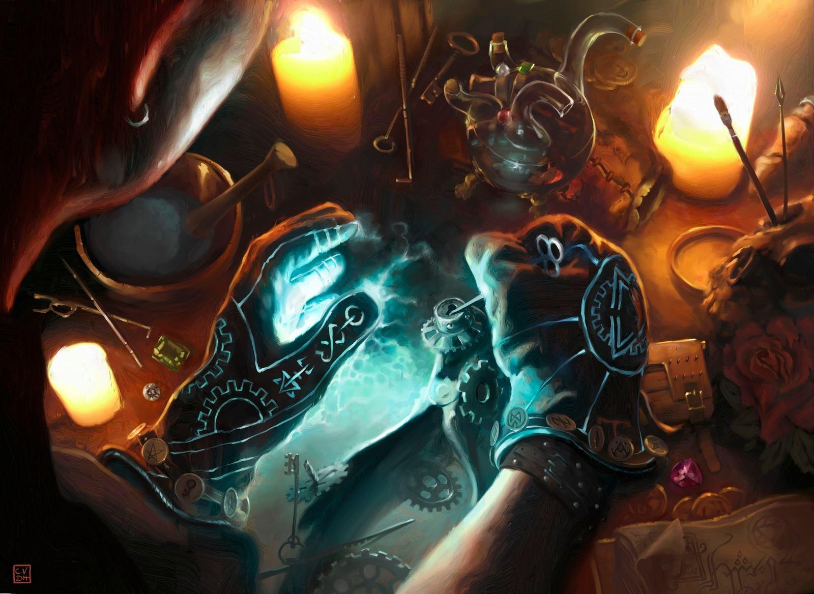 Rogue's Gloves MTG card with attach illustration. Image copyright: Wizards of the Coast. Artist: Cyril Van Der Haegen.